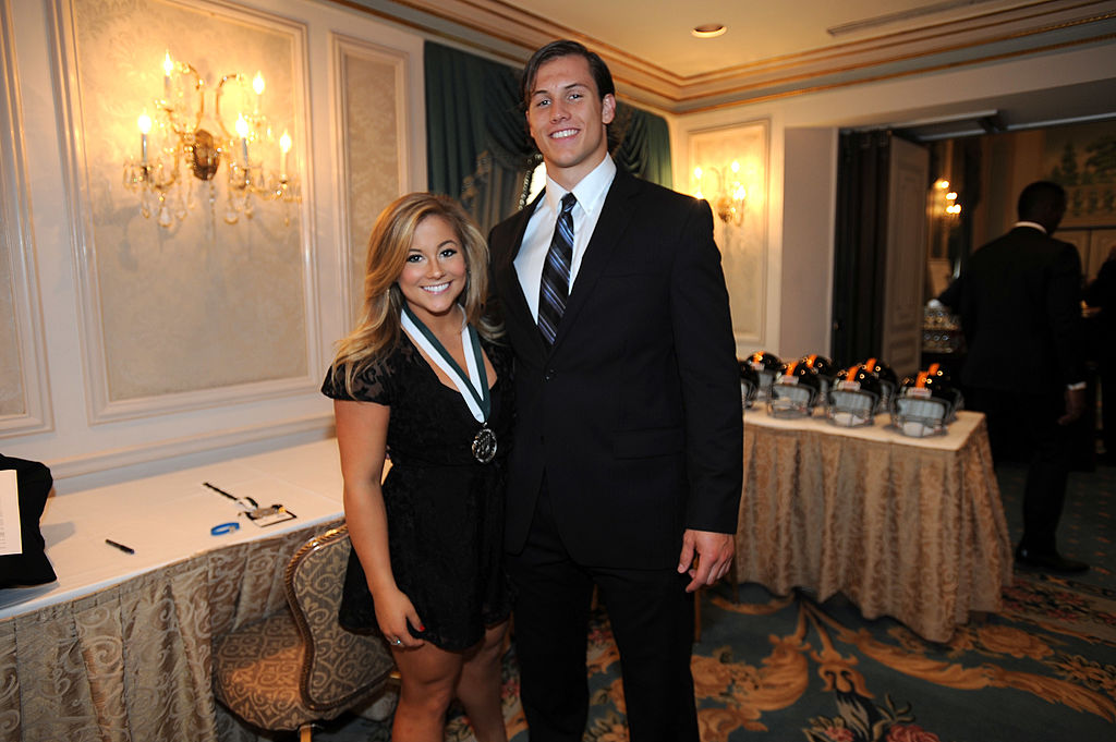 Legend and Olympic gymnast Shawn Johnson and college football player Andrew East attend the 28th Annual Great Sports Legends Dinner
