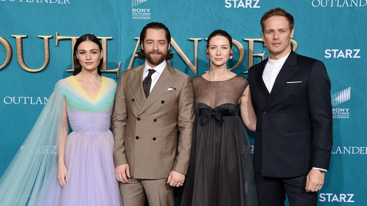Sophie Skelton, Richard Rankin, Caitriona Balfe, and Sam Heughan