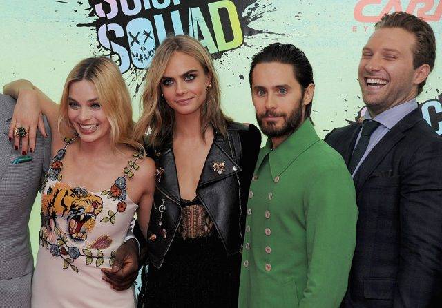 Margot Robbie, Cara Delevingne, Jared Leto, and Jai Courtney at the European premiere of 'Suicide Squad'