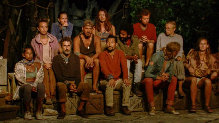 Natalie Anderson, Amber Brkich Mariano, Danni Boatwright, Ethan Zohn, Boston Rob Mariano, Parvati Shallow, Yul Kwon, Wendell Holland, Adam Klein, Tyson Apostol, Sophie Clarke and Kim Spradlin at Tribal Council