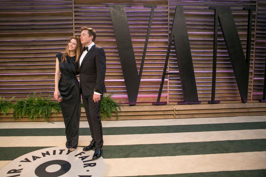 Elon Musk and wife Talulah Riley arrive to the 2014 Vanity Fair Oscar Party