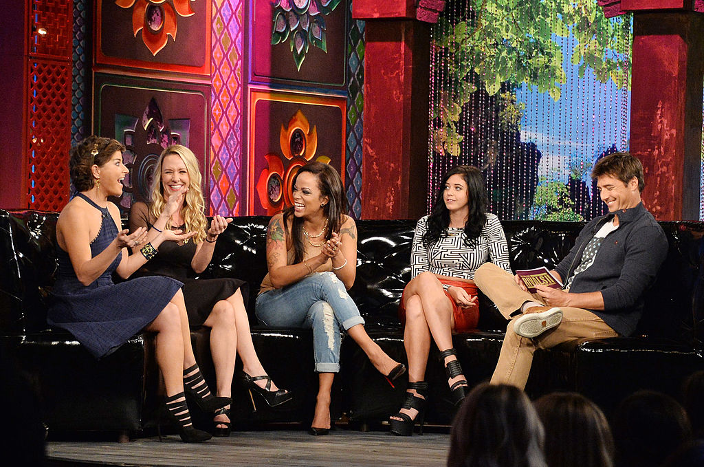 TV personalities Diem Brown, Paula Meronek, Aneesa Ferreira, Jemmye Carroll, and Jonny Moseley appear on MTV's 'The Challenge: Rivals II' final episode and reunion party