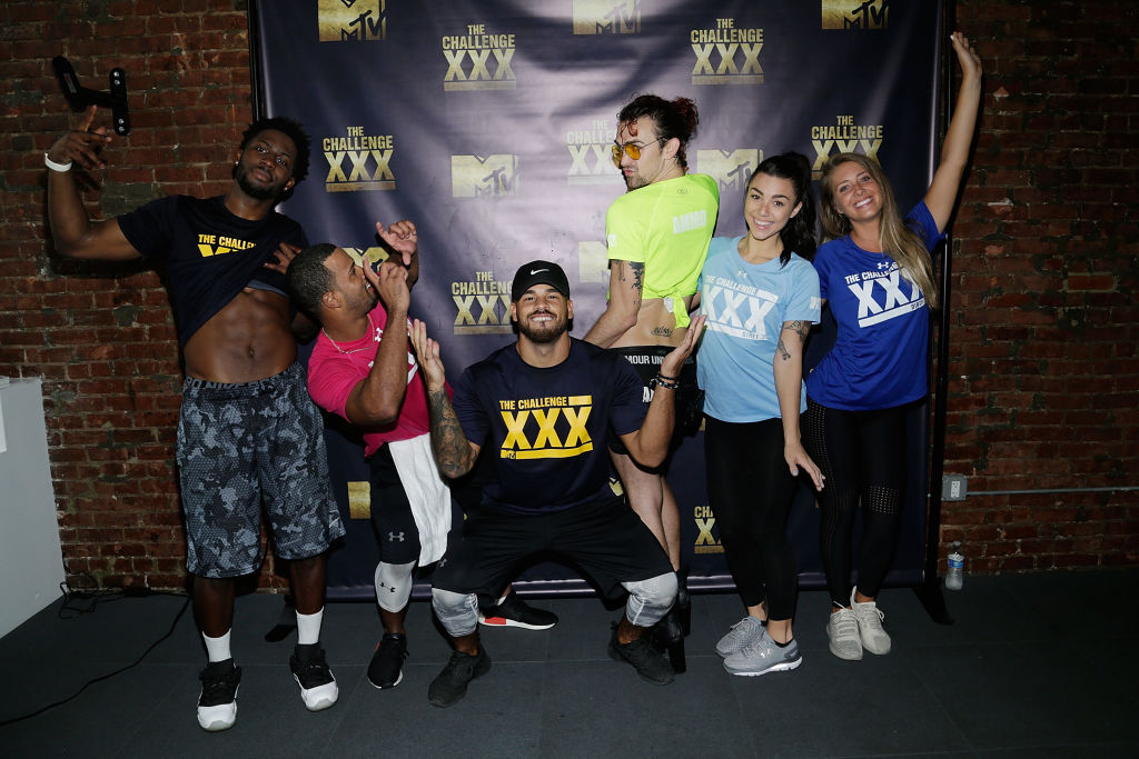 (L-R) Derrick Henry, Nelson Thomas, Cory Wharton, Chris 'Ammo' Hall, Kailah Casillas, and Jenna Compono attend 'The Challenge XXX': Ultimate Fan Experience