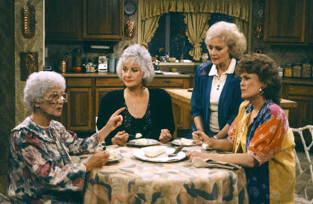 Estelle Getty as Sophia Petrillo; Bea Arthur as Dorothy Petrillo Zbornak; Betty White as Rose Nylund; Rue McClanahan as Blanche Devereaux