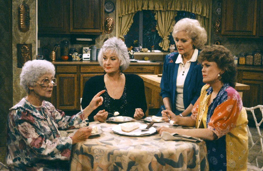 Estelle Getty as Sophia Petrillo; Bea Arthur as Dorothy Petrillo Zbornak; Betty White as Rose Nylund; Rue McClanahan as Blanche Devereaux