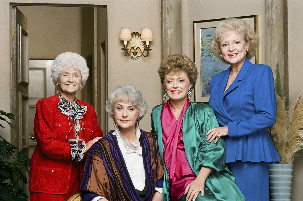 Estelle Getty as Sophia Petrillo, Bea Arthur as Dorothy Petrillo Zbornak, Rue McClanahan as Blanche Devereaux, Betty White as Rose Nylund