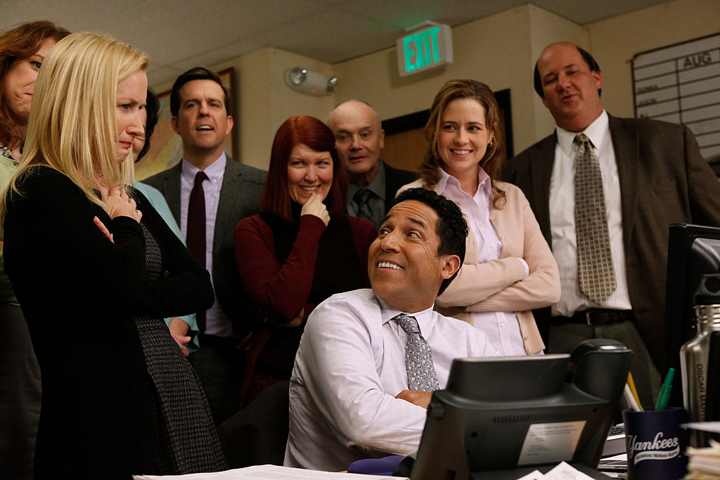 Angela Kinsey as Angela Martin, Ed Helms as Andy Bernard, Kate Flannery as Meredith Palmer, Oscar Nunez as Oscar Martinez, Creed Bratton as Creed Bratton, Jenna Fischer as Pam Beesly Halpert, Brian Baumgartner as Kevin Malone on 'The Office'