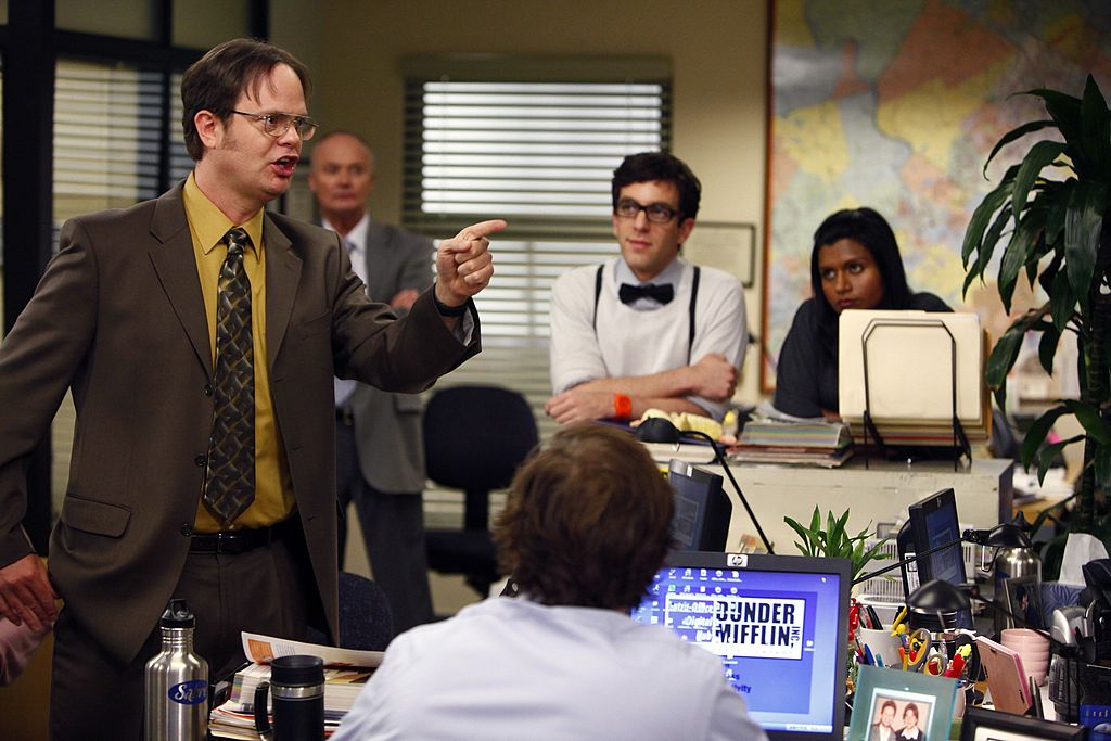 Rainn Wilson as Dwight Schrute, Creed Bratton as Creed, B.J. Novak as Ryan Howard, Mindy Kaling as Kelly Kapoor in 'The Office'