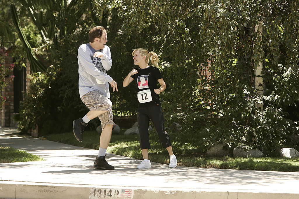Rainn Wilson as Dwight Schrute and Angela Kinsey as Angela Martin on 'The Office'