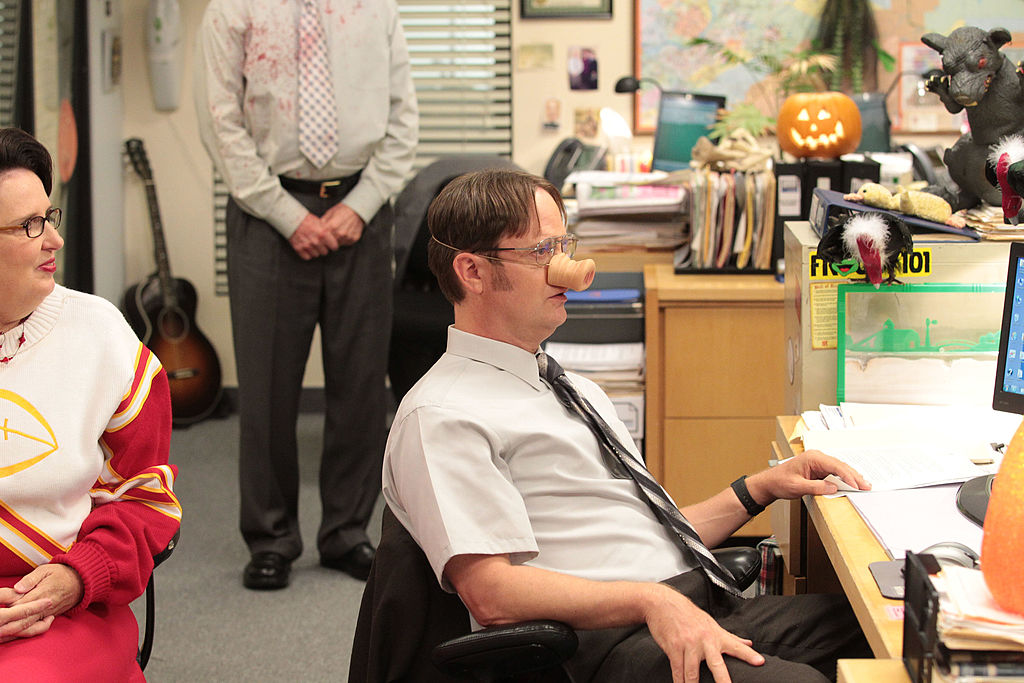 Phyllis Smith as Phyllis Vance, Rainn Wilson as Dwight Schrute on 'The Office'