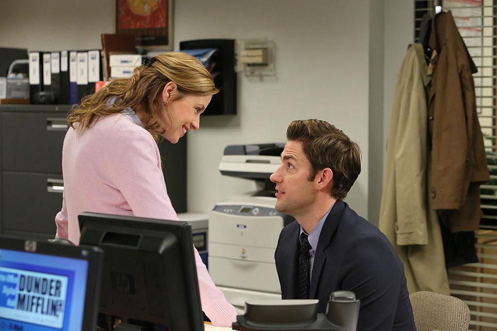 Jenna Fischer as Pam Beesly Halpert, John Krasinski as Jim Halpert on 'The Office'