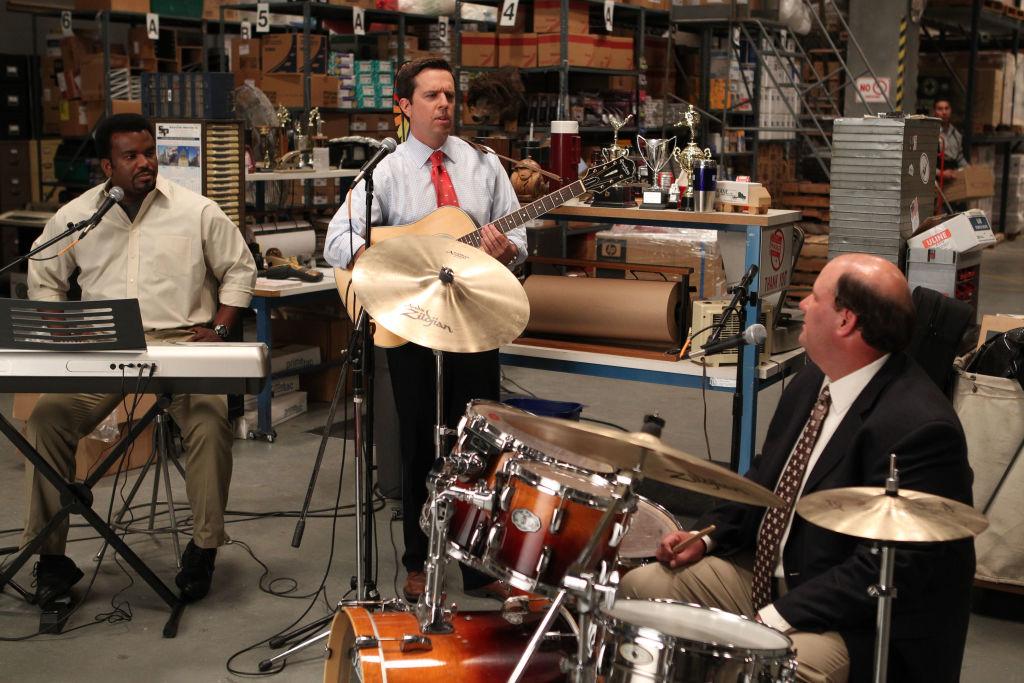 Craig Robinson as Darryl Philbin, Ed Helms as Andy Bernard, Brian Baumgartner as Kevin Malone on 'The Office'
