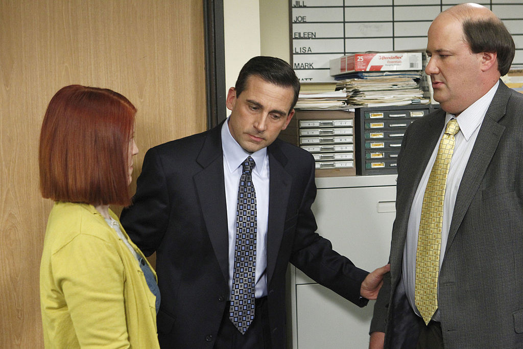Kate Flannery as Meredith Palmer, Steve Carell as Michael Scott, Brian Baumgartner as Kevin Malone on 'The Office'