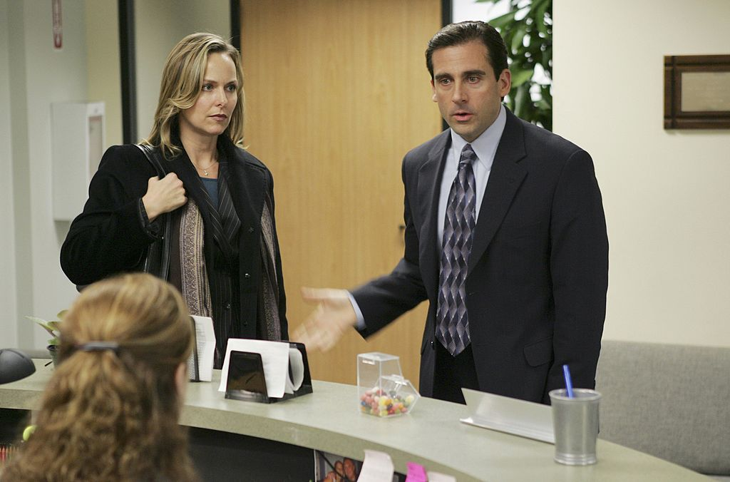 Jenna Fischer as Pam Beesly, Melora Hardin as Jan Levinson and Steve Carell as Michael Scott on 'The Office'