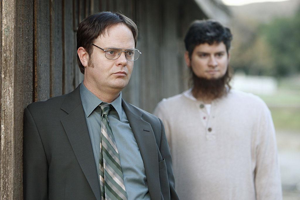 Rainn Wilson as Dwight Schrute, Michael Schur as Mose on 'The Office'