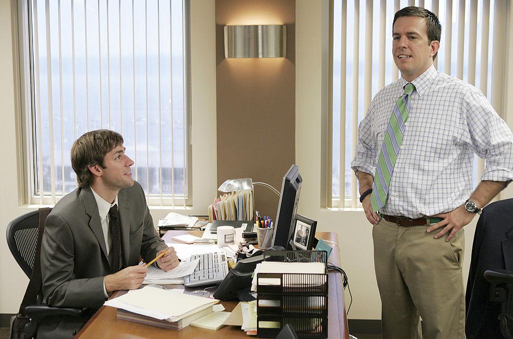 John Krasinski as Jim Halpert and Ed Helms as Andy Bernard on 'The Office