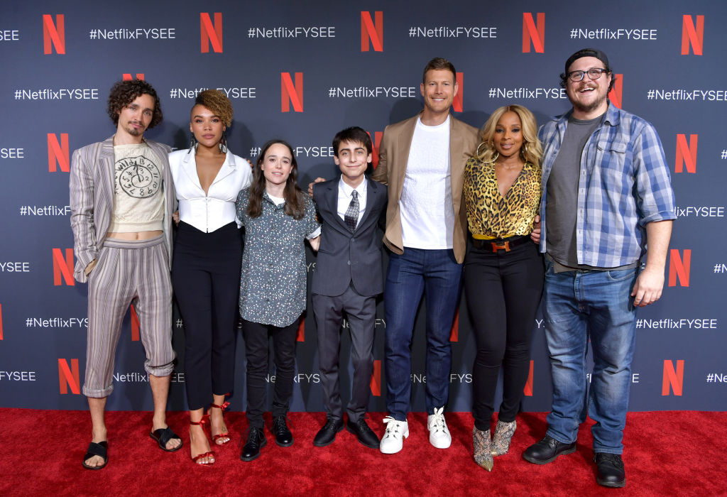 Robert Sheehan, Emmy Raver-Lampman, Ellen Page, Aidan Gallagher, Tom Hopper, Mary J. Blige and Cameron Britton attend Netflix's 'Umbrella Academy' Screening at Raleigh Studios on May 11, 2019 in Los Angeles, California.