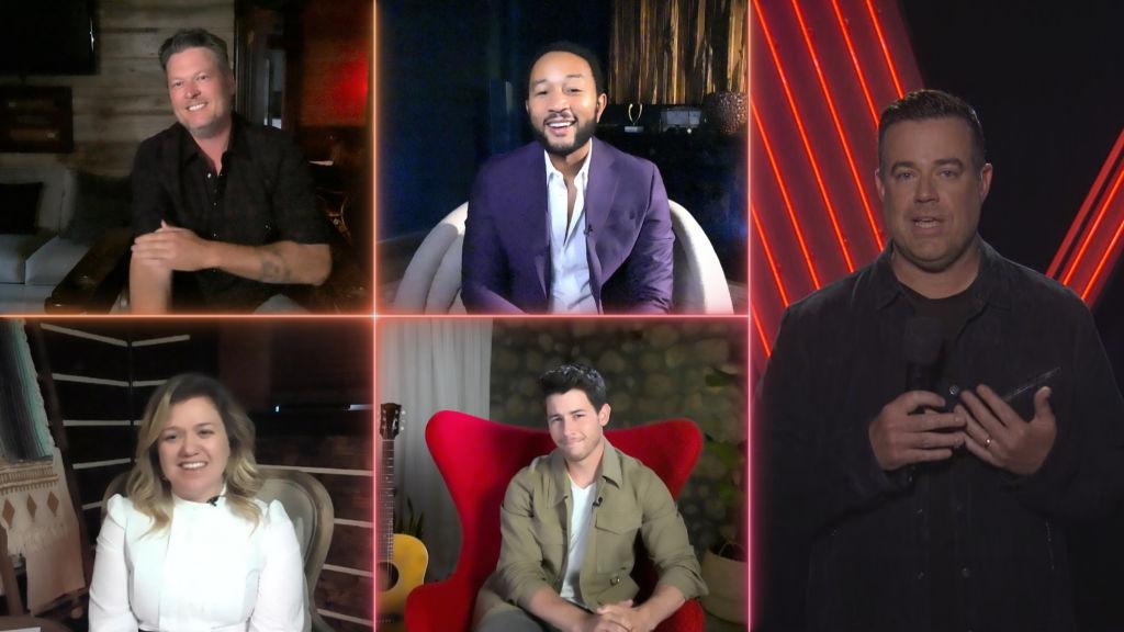 (top row l-r) Blake Shelton, John Legend; (bottom row l-r) Kelly Clarkson, Nick Jonas; (right) Carson Daly on 'The Voice'