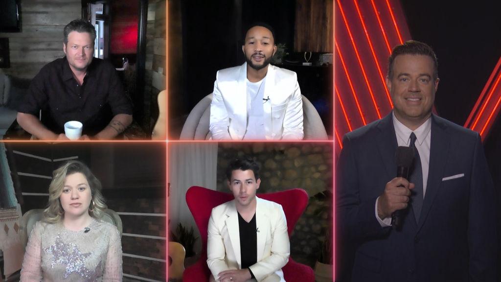 Blake Shelton, John Legend; (bottom row l-r) Kelly Clarkson, Nick Jonas; (right) Carson Daly on 'The Voice'