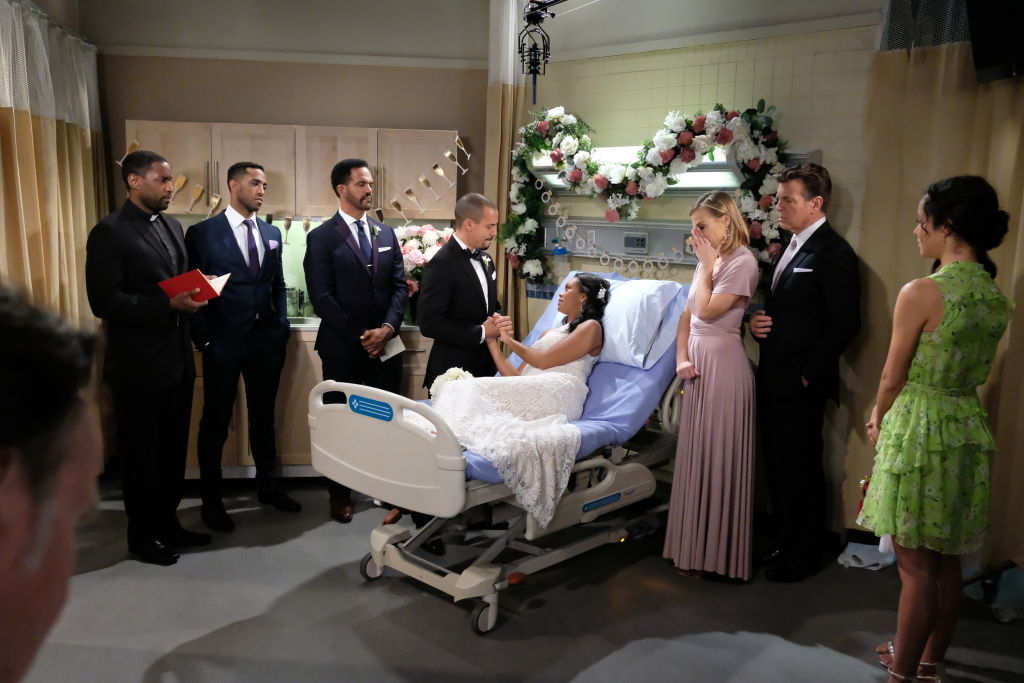 The Young and the Restless cast in a hospital room