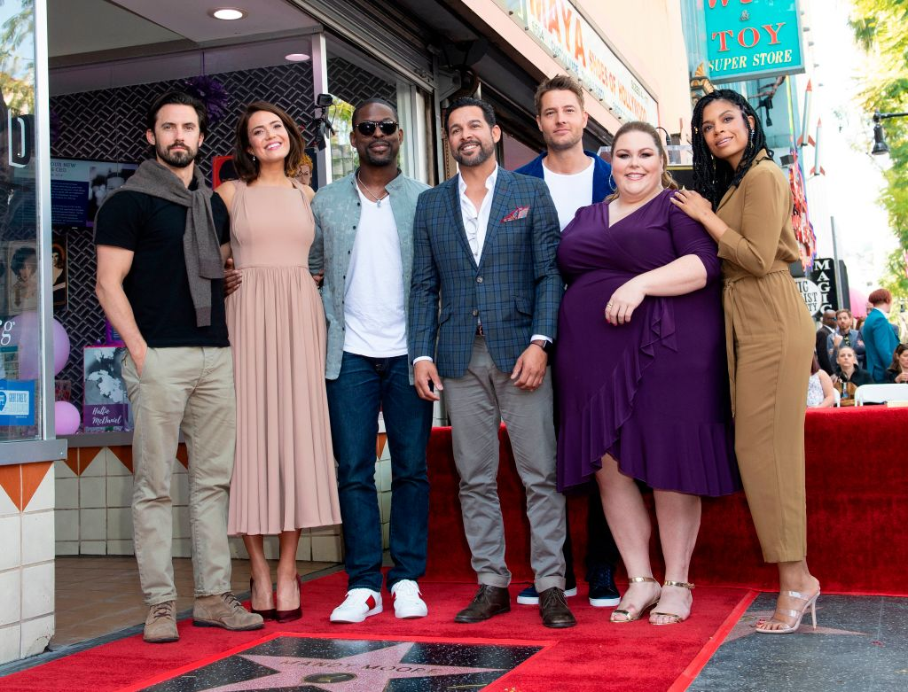 Milo Ventimiglia, Mandy Moore, Sterling K. Brown, Jon Huertas, Justin Hartley, Chrissy Metz, and Susan Kelechi Watson of 'This Is Us' attend a ceremony honoring Mandy Moore with a star on The Hollywood Walk of Fame on March 25, 2019 in Hollywood, California.
