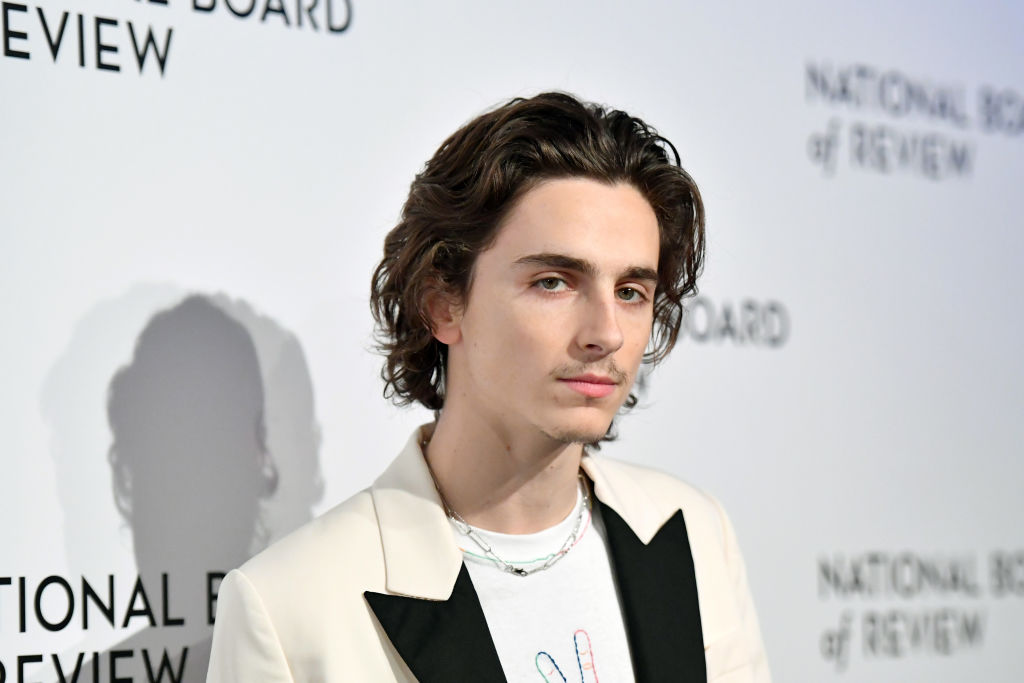Timothée Chalamet smiling slightly to the side in front of a white background with a repeating logo