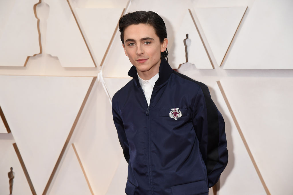 Timothée Chalamet smiling in front of a textured beige background