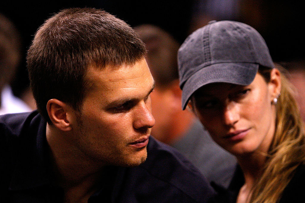 Tom Brady and Gisele Bundchen watch as the Detroit Pistons play against the Boston Celtics during Game Two of the 2008 NBA Eastern Conference finals