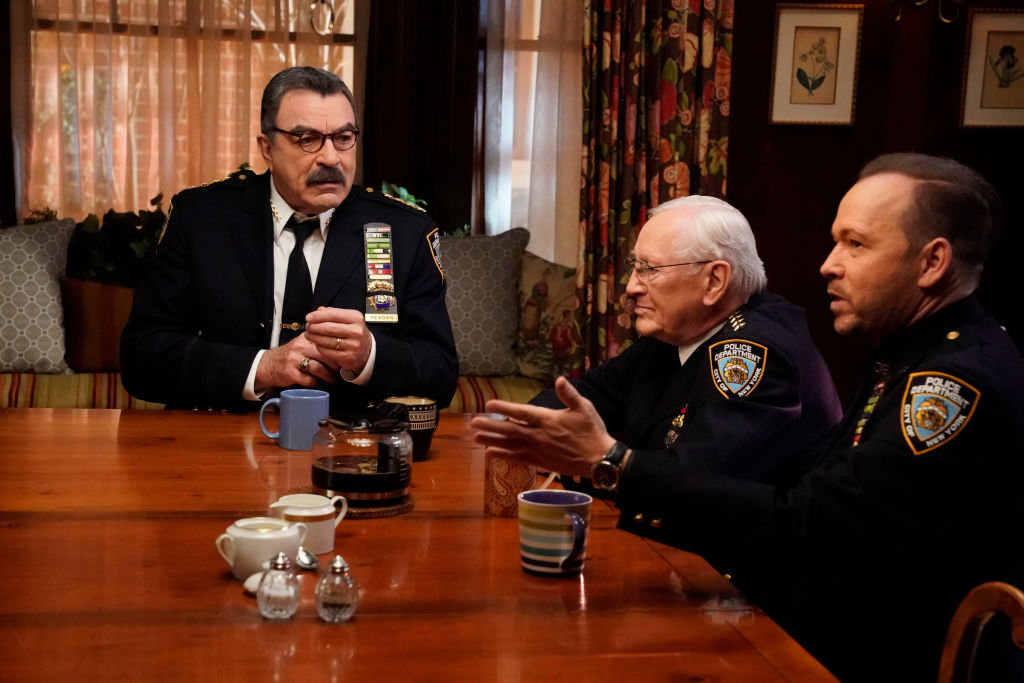 Tom Selleck as Frank Reagan, Len Cariou as Henry Reagan, and Donnie Wahlberg as Danny Reagan | John Paul Filo/CBS via Getty Images