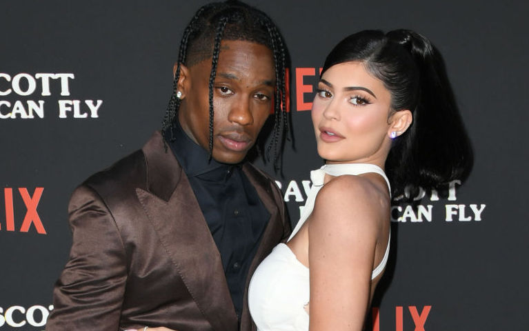 Travis Scott and Kylie Jenner on the red carpet at an event in August 2019