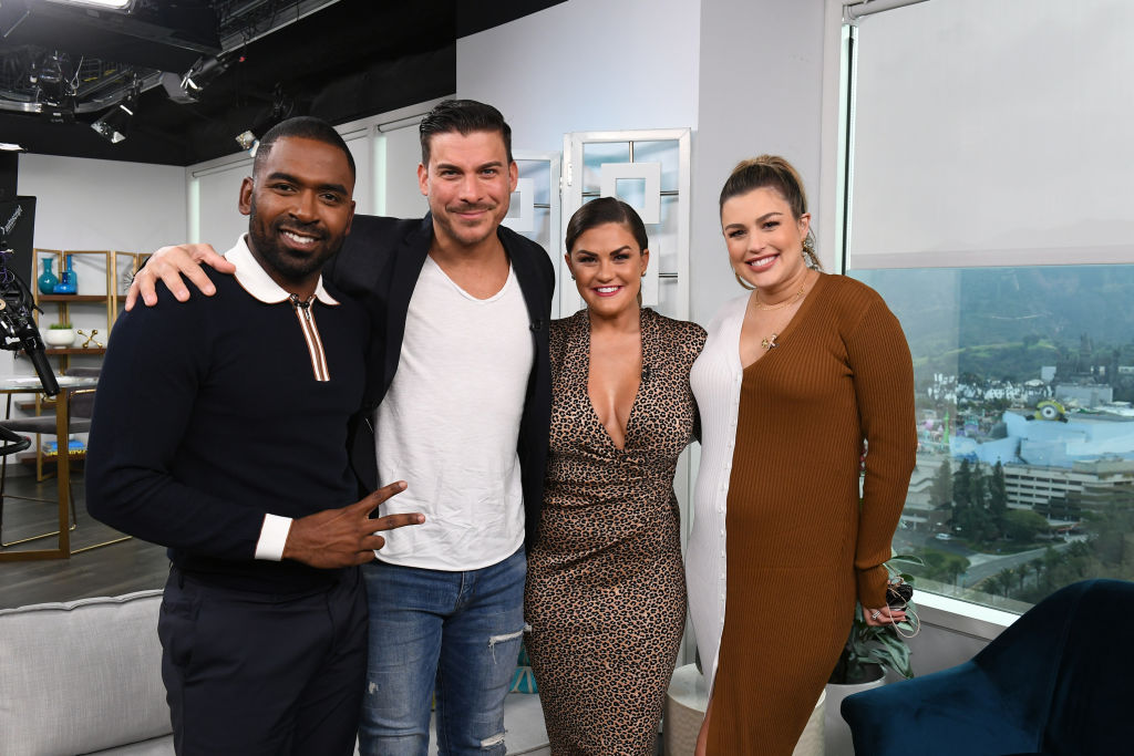 Justin Sylvester poses with Vanderpump Rules cast members Jax Taylor and Brittany Cartwright, along with Co-Host Carissa Culiner