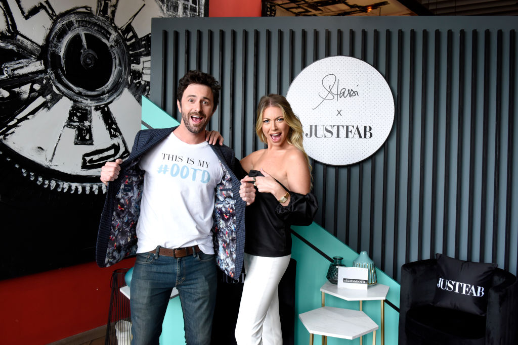 Beau Clark and Stassi Schroeder pose as she presents: Outfit Of The Day Collection exclusively on JustFab