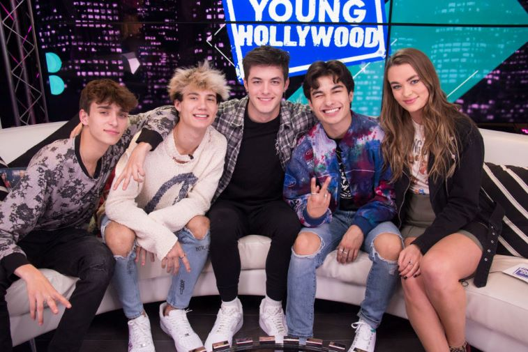 Josh Richards, Jaden Hossler, Griffin Johnson, Kio Cyr and host Joely Live at the Young Hollywood Studio
