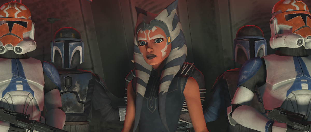 Ahsoka stands with clones from her 332nd Company after they captured Maul, 'Star Wars: The Clone Wars.'