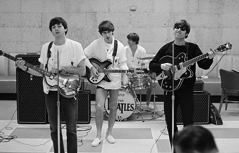 The Beatles at a rehearsal