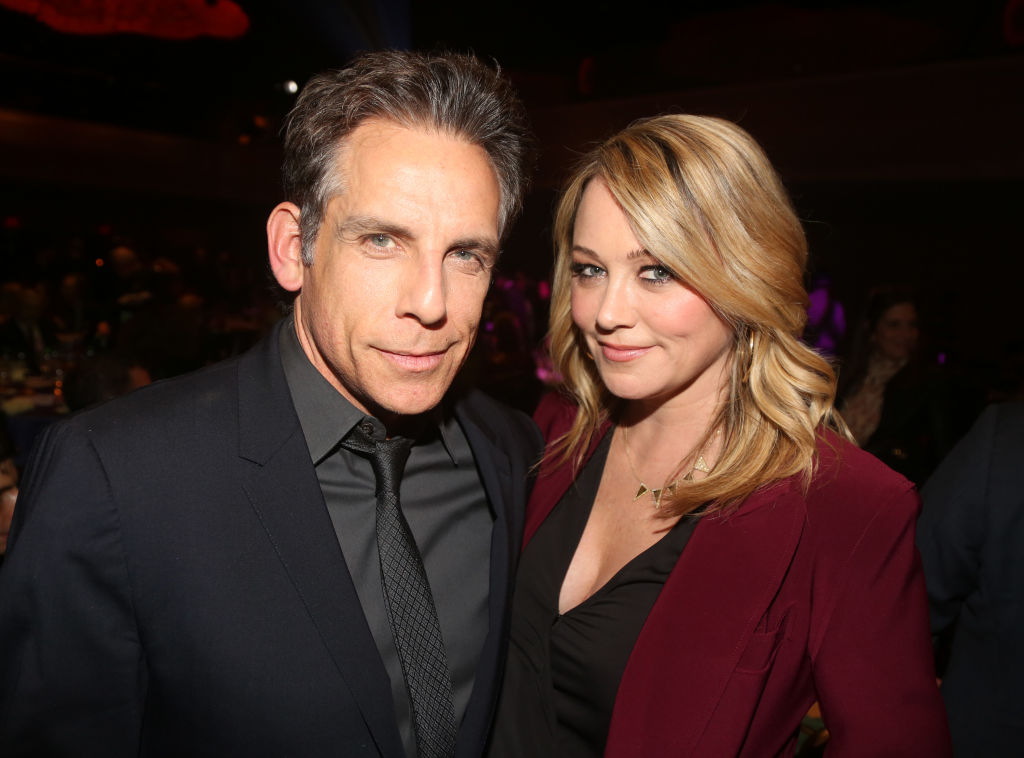 Honoree Ben Stiller and Christine Taylor pose at the 2019 Rosie's Theater Kids Fall Gala at The New York Marriott Marquis on November 18, 2019 in New York City.