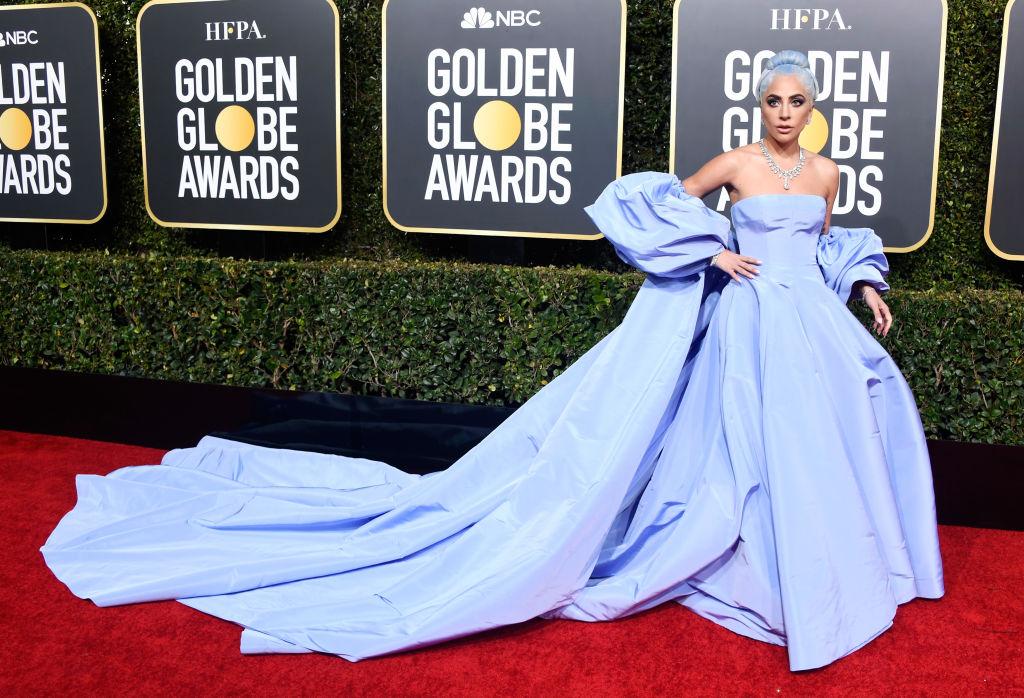 Lady Gaga in a blue dress | Frazer Harrison  Getty Images