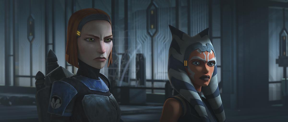 Bo-Katan and Ahsoka stand in the throne room on Mandalore in 'Star Wars: The Clone Wars.'