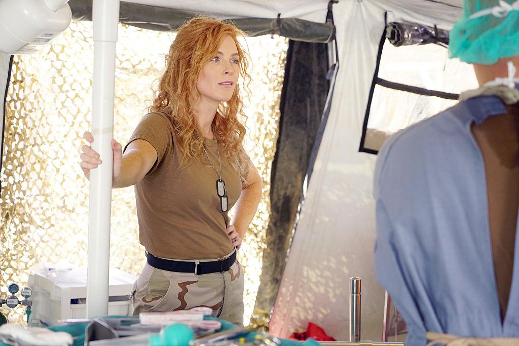 Bridget Regan on the set of 'Grey's Anatomy.'