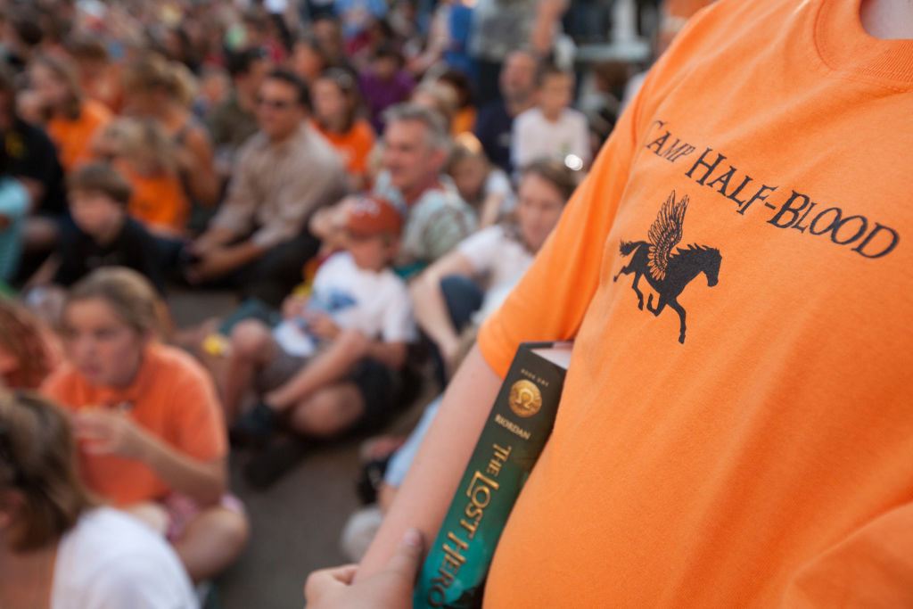 A fan in a Camp Half-Blood shirt Rick Riordan's book launch celebration for 'The Lost Hero,' a spinoff of the 'Percy Jackson' series.