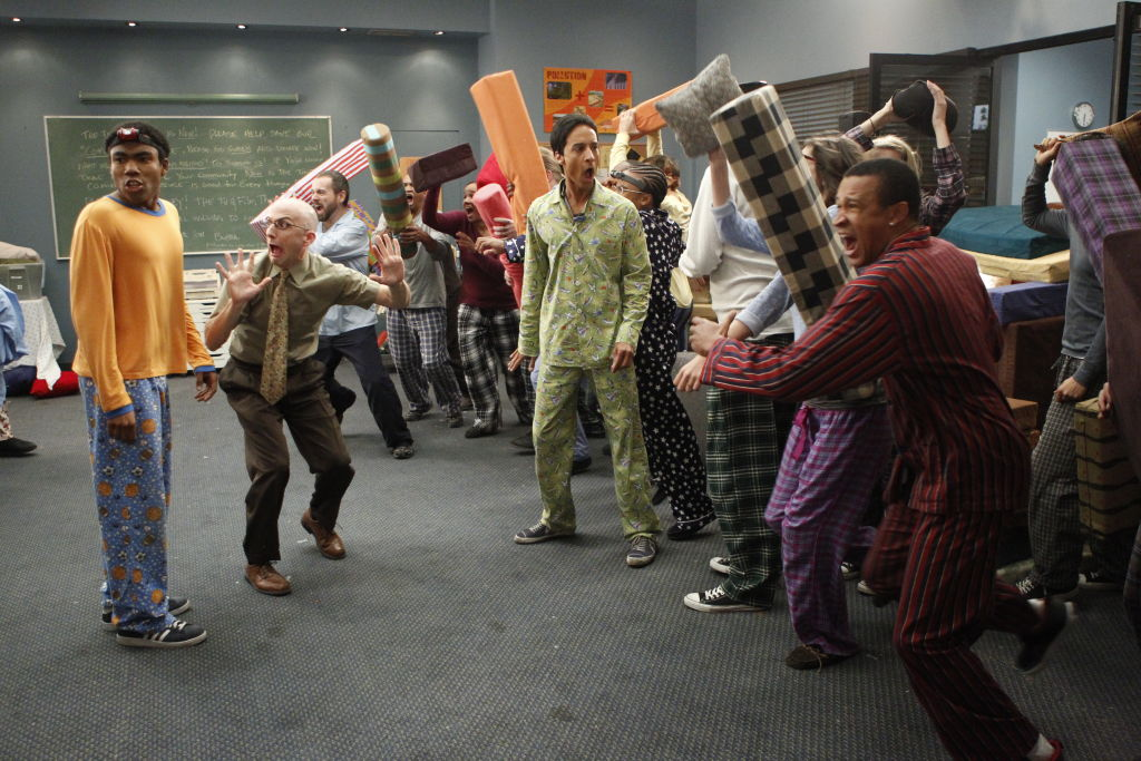 Donald Glover as Troy, Jim Rash as Dean Pelton, and Danny Pudi as Abed on 'Community'