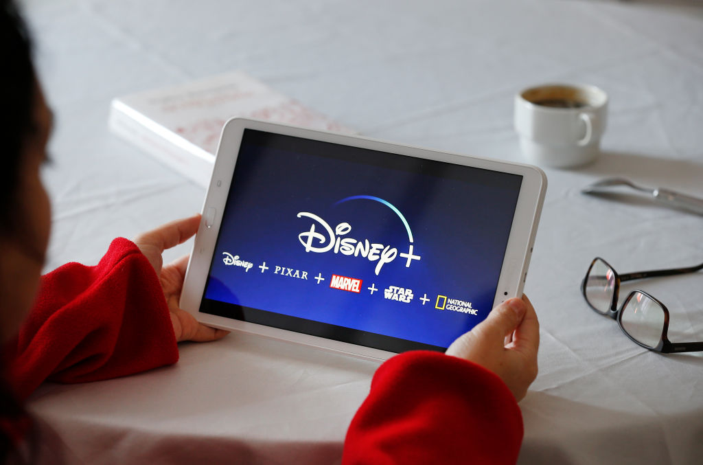 The Disney+ logo on the screen of a tablet on November 20, 2019, days after it launched in America