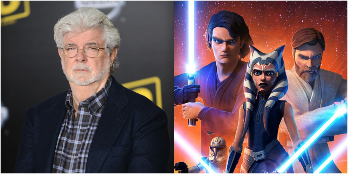 (L) George Lucas at the premiere of 'Solo: A Star Wars Story' on May 10, 2018 / (R) Poster for 'Star Wars: The Clone Wars,' with Anakin, Ahsoka, and Obi-Wan