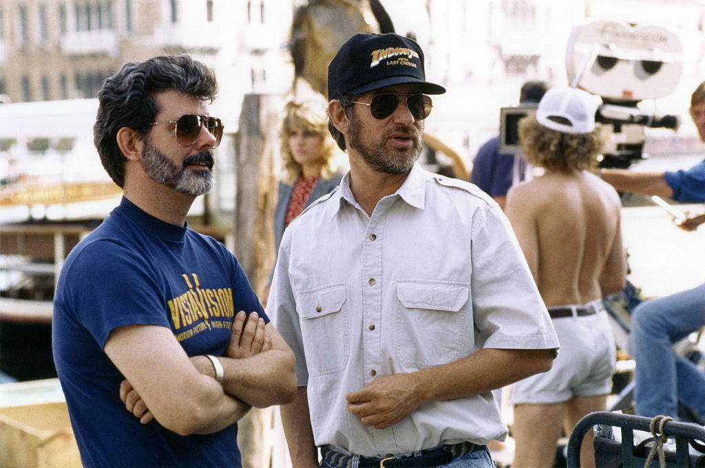 Director Steven Spielberg and producer George Lucas on the set of 'Indiana Jones and the Last Crusade.'
