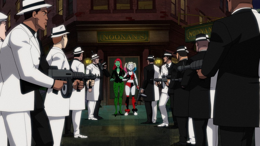 Poison Ivy and Harley Quinn are ambushed by Two-Face's men.