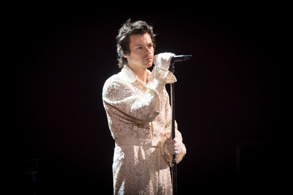 Harry Styles performs during The BRIT Awards 2020 at The O2 Arena on February 18, 2020