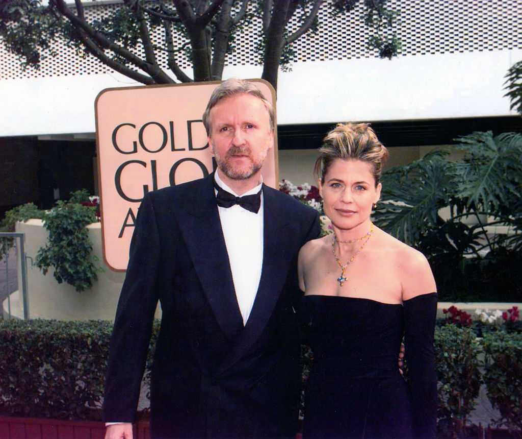 Portrait of married couple, director James Cameron and actress Linda Hamilton, as they pose together at the Beverly Hilton Hotel during the 55th Golden Globe Awards, Los Angeles, California, January 18, 1998.