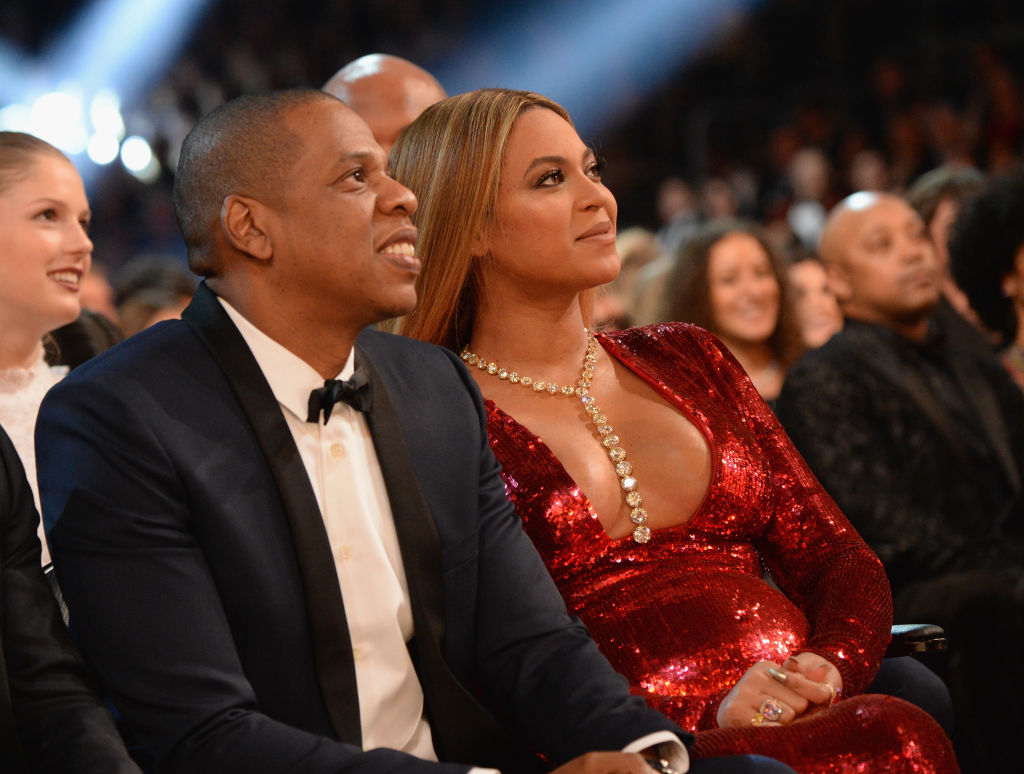 Jay-Z and Beyoncé during The 59th GRAMMY Awards at STAPLES Center on February 12, 2017 in Los Angeles, California.