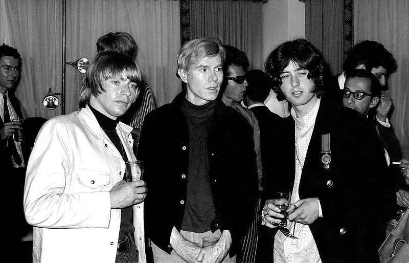 Jimmy Page and Keith Relf chat with Andy Warhol
