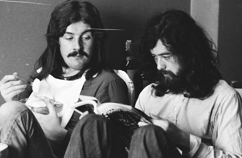 John Bonham sitting with Jimmy Page